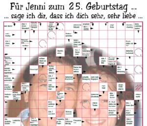 Personalisiertes Kreuzworträtsel zum 25. Geburtstag